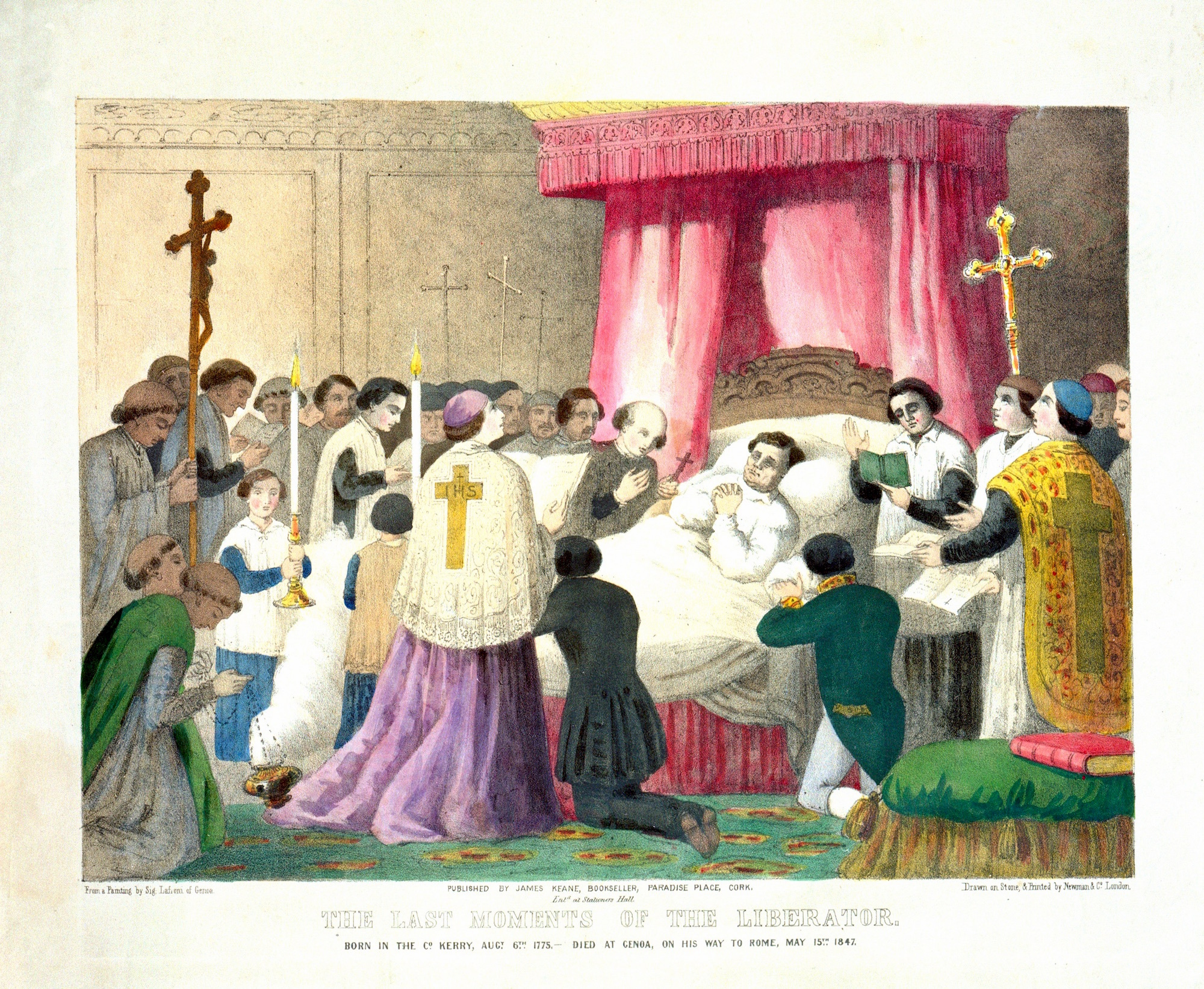Daniel O'Connell on his deathbed and being given the last rites. He is surrounded by members of the clergy. From a painting by Sig. Lafroni of Genoa. National Library of Ireland.